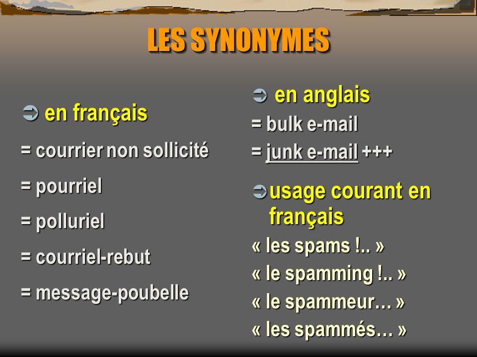 LES SYNONYMES en anglais en anglais = bulk e-mail = junk e-mail +++ usage courant en français usage courant en français « les spams !.. » « le spammin