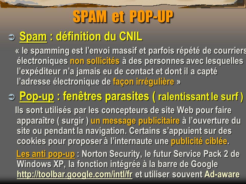 SPAM et POP-UP Spam : définition du CNIL Spam : définition du CNIL « le spamming est lenvoi massif et parfois répété de courriers électroniques non so