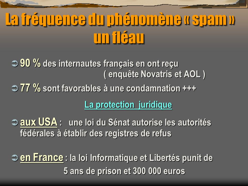 La fréquence du phénomène « spam » un fléau La fréquence du phénomène « spam » un fléau 90 % des internautes français en ont reçu ( enquête Novatris e