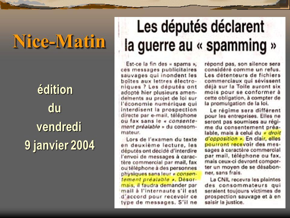 Nice-MatinNice-Matin édition du du vendredi vendredi 9 janvier 2004