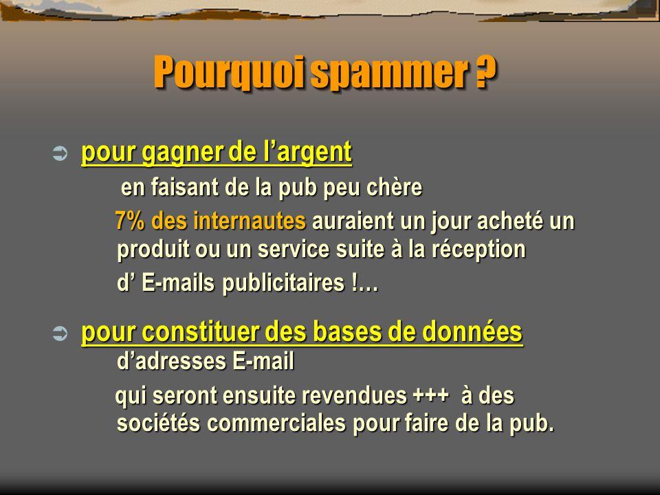 2 = les logiciels anti-spams en français, téléchargeables et gratuits Spampal : http://spampal.free.fr Spampal : http://spampal.free.frhttp://spampal.free.fr se place entre la boîte aux lettres et le lecteur se place entre la boîte aux lettres et le lecteur repère tous les messages configurés suspects et les marque avec un-tête spécial : faire une configuration du filtre repère tous les messages configurés suspects et les marque avec un-tête spécial : faire une configuration du filtre Mailwasher : www.mailwasher.net/down-load.php Mailwasher : www.mailwasher.net/down-load.php programme de vérification de courriels qui traite directement sur le serveur et fonctionne avec un système de listes : adresses autorisées, toujours interdites ou à vérifier Outclock : http://alain.tauber.nom.fr/OutClock/Outclock.phphttp://alain.tauber.nom.fr/OutClock/Outclock.php naffiche que len-tête des messages mais ne les télécharge pas afin de pouvoir les supprimer il lit en mode texte seulement le début du message