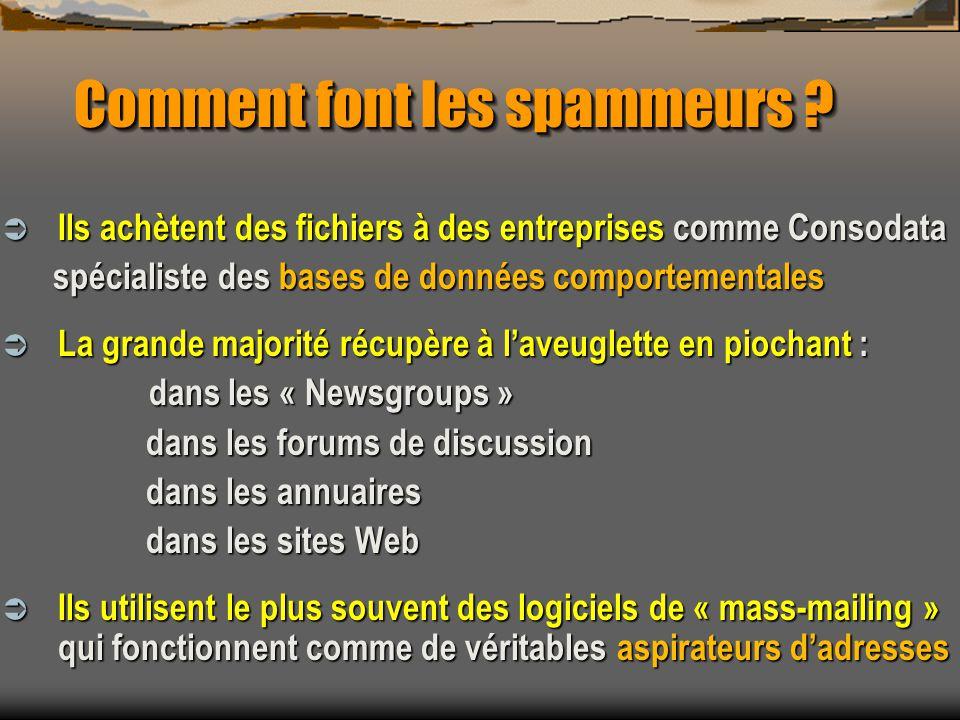 Comment font les spammeurs ? Ils achètent des fichiers à des entreprises comme Consodata Ils achètent des fichiers à des entreprises comme Consodata s