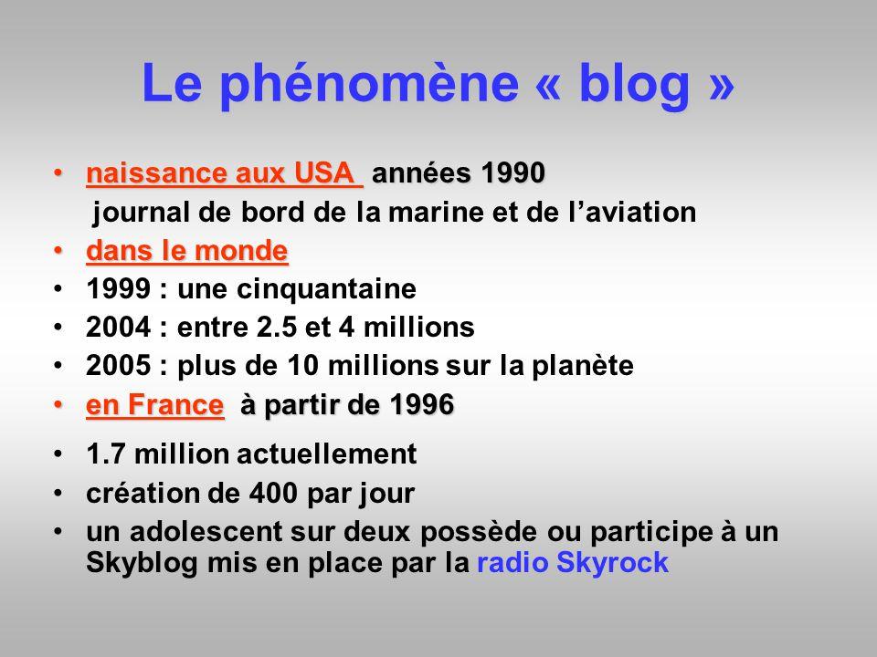 Le phénomène « blog » naissance aux USA années 1990naissance aux USA années 1990 journal de bord de la marine et de laviation dans le mondedans le mon