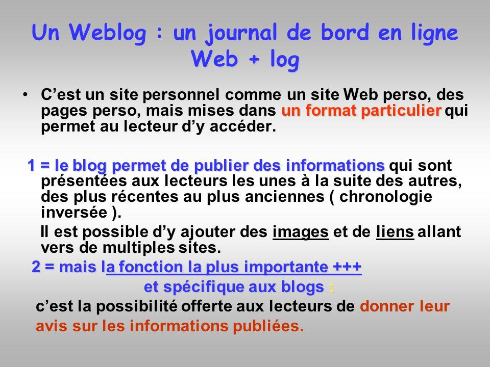 Un Weblog : un journal de bord en ligne Web + log un format particulierCest un site personnel comme un site Web perso, des pages perso, mais mises dan