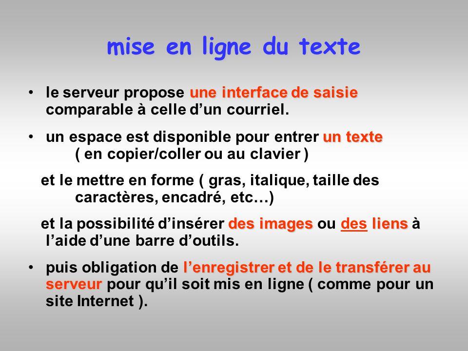 mise en ligne du texte une interface de saisiele serveur propose une interface de saisie comparable à celle dun courriel. un texteun espace est dispon