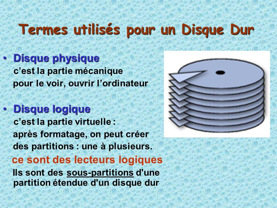 Termes utilisés pour un Disque Dur Disque physiqueDisque physique cest la partie mécanique pour le voir, ouvrir lordinateur Disque logiqueDisque logique cest la partie virtuelle : après formatage, on peut créer des partitions : une à plusieurs.