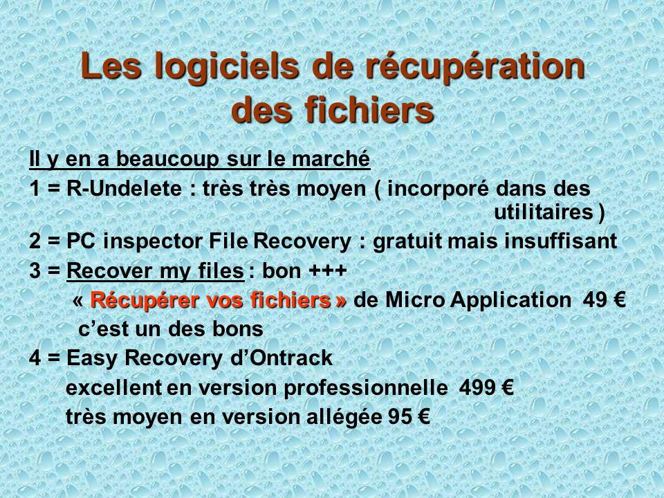Les logiciels de récupération des fichiers Il y en a beaucoup sur le marché 1 = R-Undelete : très très moyen ( incorporé dans des utilitaires ) 2 = PC inspector File Recovery : gratuit mais insuffisant 3 = Recover my files : bon +++ Récupérer vos fichiers » « Récupérer vos fichiers » de Micro Application 49 cest un des bons 4 = Easy Recovery dOntrack excellent en version professionnelle 499 très moyen en version allégée 95