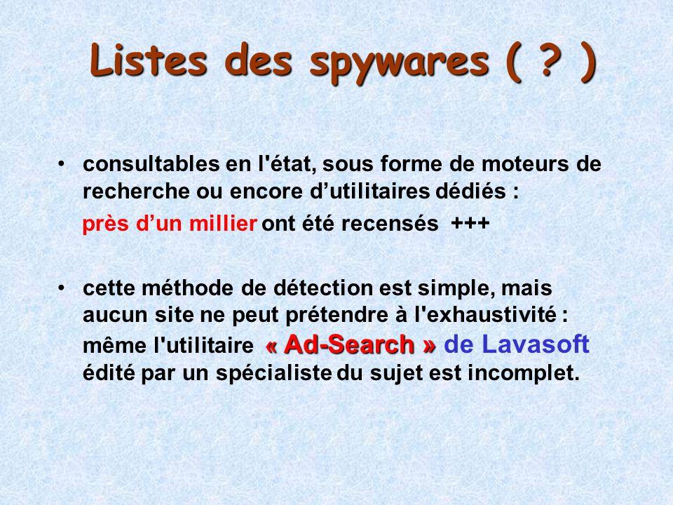 Listes des spywares ( ? ) consultables en l'état, sous forme de moteurs de recherche ou encore dutilitaires dédiés : près dun millier ont été recensés