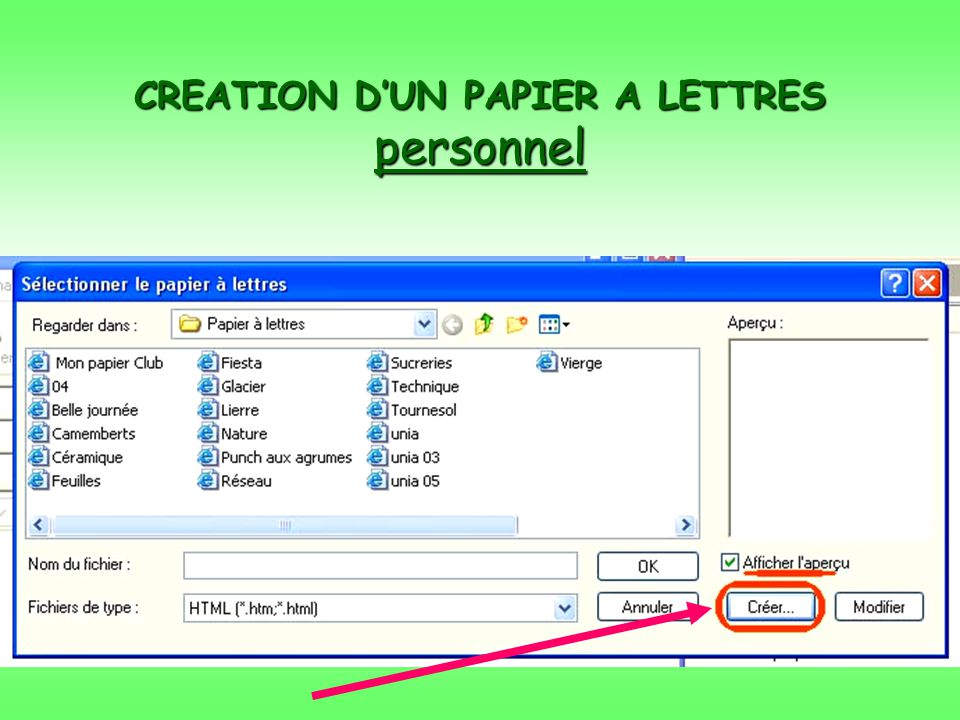 CREATION DUN PAPIER A LETTRES personnel