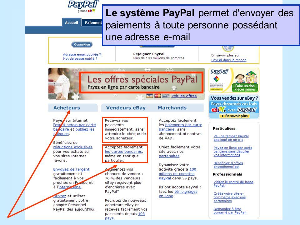 Le système PayPal permet d envoyer des paiements à toute personne possédant une adresse e-mail