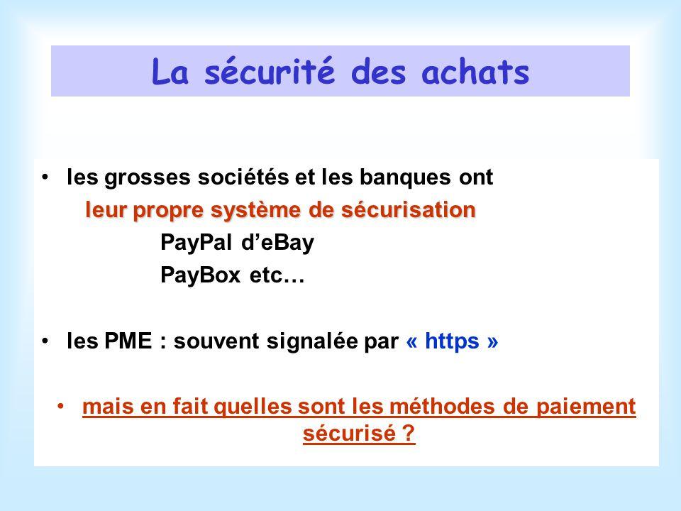 La sécurité des achats les grosses sociétés et les banques ont leur propre système de sécurisation PayPal deBay PayBox etc… les PME : souvent signalée par « https » mais en fait quelles sont les méthodes de paiement sécurisé