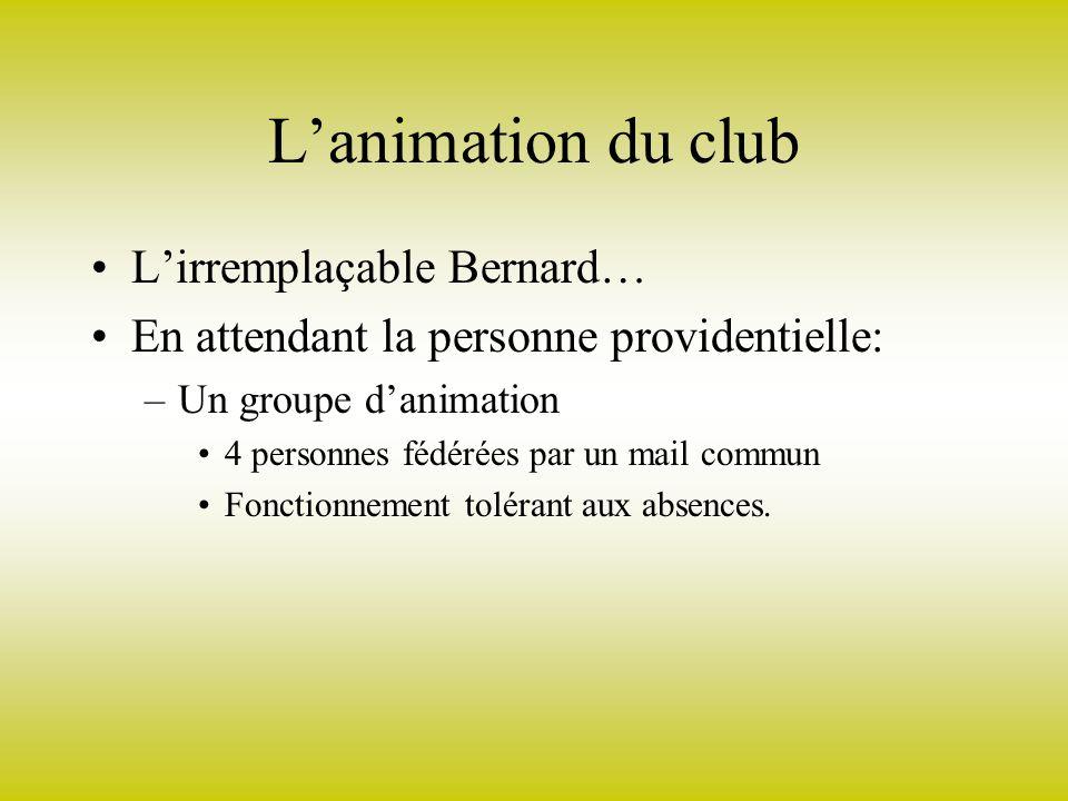 Lanimation du club Lirremplaçable Bernard… En attendant la personne providentielle: –Un groupe danimation 4 personnes fédérées par un mail commun Fonctionnement tolérant aux absences.