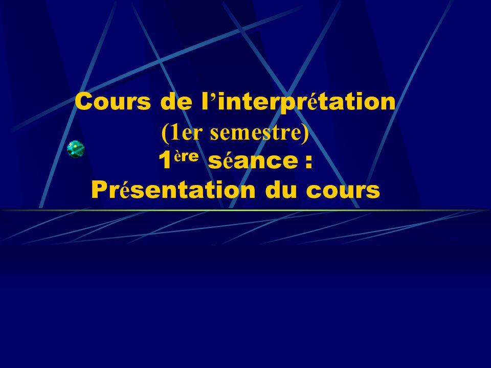 - Débat sur les questions posées dans la dernière séance (10mn) - Connaissances théoriques sur linterprétation (30mn) 1.