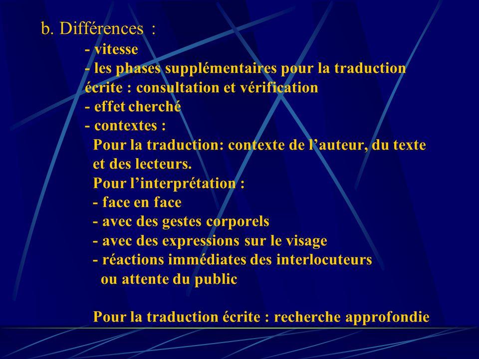 b. Différences : - vitesse - les phases supplémentaires pour la traduction écrite : consultation et vérification - effet cherché - contextes : Pour la