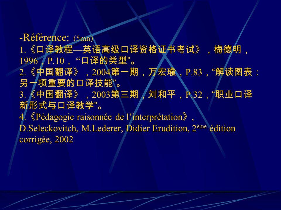 -Référence: (5mn) 1. 1996 P.10 2. 2004 P.83 3. 2003 P.32 4.