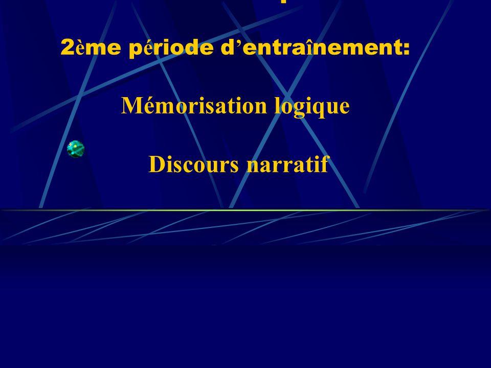Cours de l interpr é tation 2 è me p é riode d entra î nement: Mémorisation logique Discours narratif