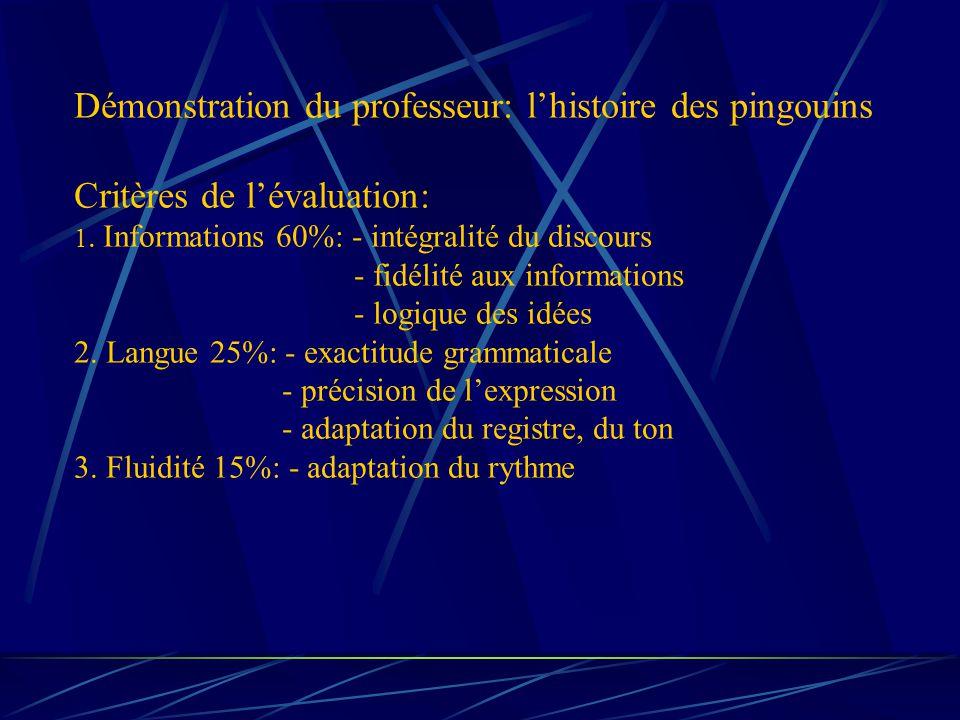 Démonstration du professeur: lhistoire des pingouins Critères de lévaluation: 1. Informations 60%: - intégralité du discours - fidélité aux informatio