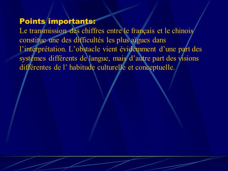 Points importants: Le transmission des chiffres entre le français et le chinois constitue une des difficultés les plus aïgues dans linterprétation. Lo