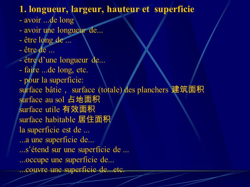 1. longueur, largeur, hauteur et superficie - avoir...de long - avoir une longueur de...