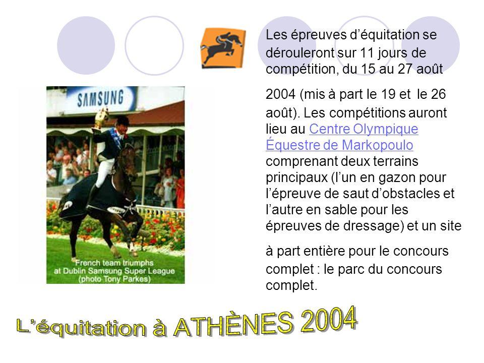 Les épreuves déquitation se dérouleront sur 11 jours de compétition, du 15 au 27 août 2004 (mis à part le 19 et le 26 août).