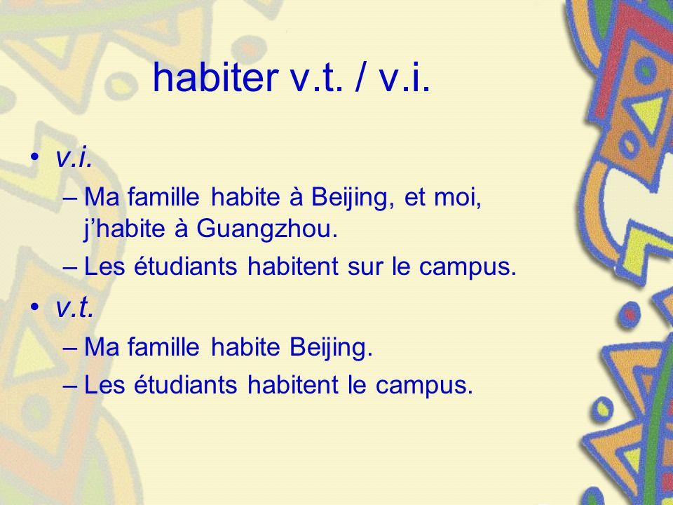 habiter v.t. / v.i. v.i. –Ma famille habite à Beijing, et moi, jhabite à Guangzhou. –Les étudiants habitent sur le campus. v.t. –Ma famille habite Bei