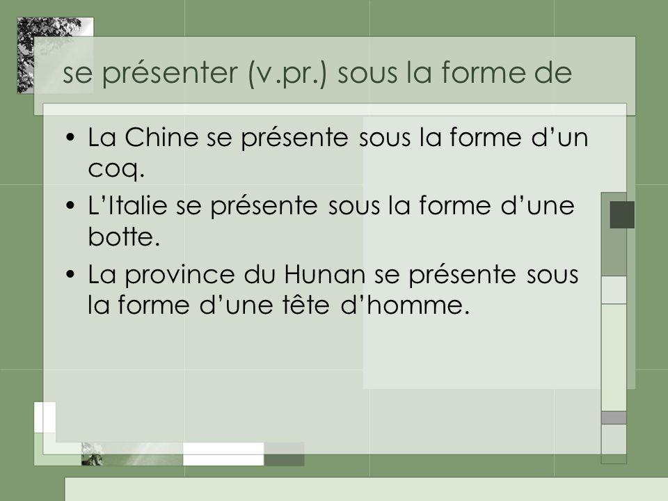se présenter (v.pr.) sous la forme de La Chine se présente sous la forme dun coq. LItalie se présente sous la forme dune botte. La province du Hunan s