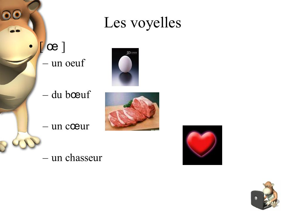 Les voyelles [ œ ] –un oeuf –du b œ uf –un c œ ur –un chasseur