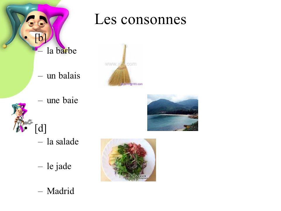 Les consonnes [b] –la barbe –un balais –une baie [d] –la salade –le jade –Madrid