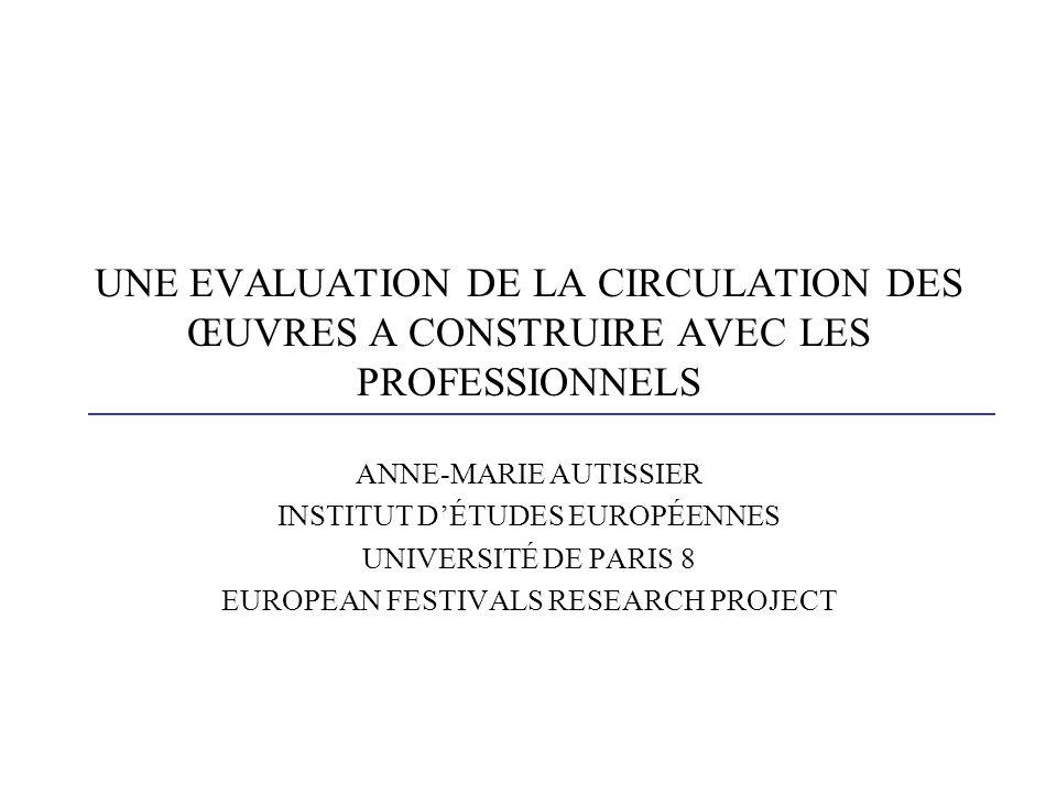 UNE EVALUATION DE LA CIRCULATION DES ŒUVRES A CONSTRUIRE AVEC LES PROFESSIONNELS ANNE-MARIE AUTISSIER INSTITUT DÉTUDES EUROPÉENNES UNIVERSITÉ DE PARIS 8 EUROPEAN FESTIVALS RESEARCH PROJECT