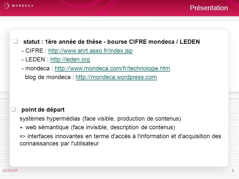 12/01/07 I. Représentation hypermédia de linformation et représentation formelle des connaissances