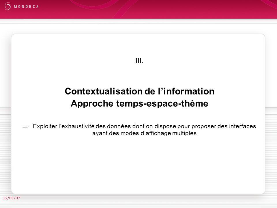III. Contextualisation de linformation Approche temps-espace-thème Exploiter lexhaustivité des données dont on dispose pour proposer des interfaces ay