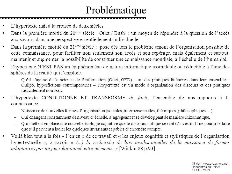Olivier | www.ertzscheid.net | Rencontres du CNAM 17 / 11 / 2003 Problématique Lhypertexte naît à la croisée de deux siècles Dans la première moitié d