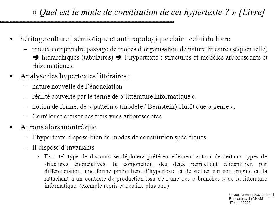 Olivier | www.ertzscheid.net | Rencontres du CNAM 17 / 11 / 2003 « Quel est le mode de constitution de cet hypertexte ? » [Livre] héritage culturel, s
