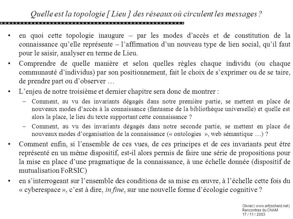 Olivier | www.ertzscheid.net | Rencontres du CNAM 17 / 11 / 2003 Quelle est la topologie [ Lieu ] des réseaux où circulent les messages ? en quoi cett