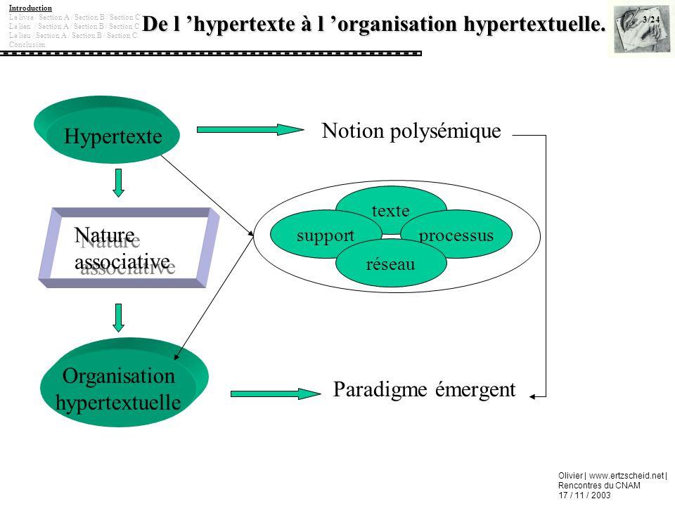 Olivier | www.ertzscheid.net | Rencontres du CNAM 17 / 11 / 2003 De l hypertexte à l organisation hypertextuelle. Notion polysémique 3/24 Introduction