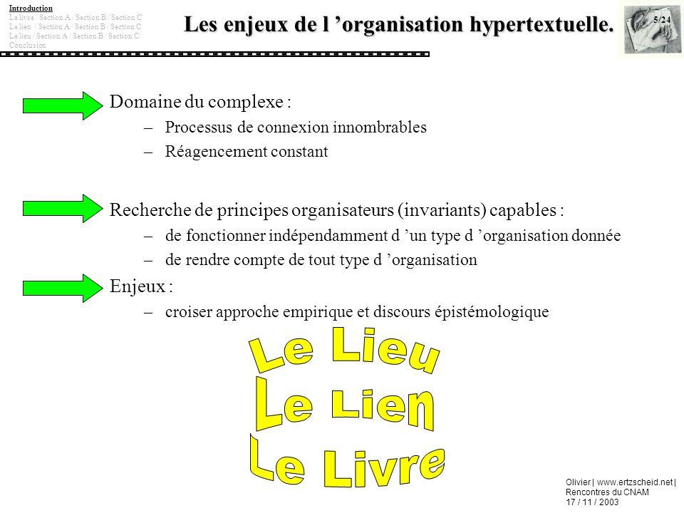 Olivier | www.ertzscheid.net | Rencontres du CNAM 17 / 11 / 2003 Les enjeux de l organisation hypertextuelle. Domaine du complexe : –Processus de conn