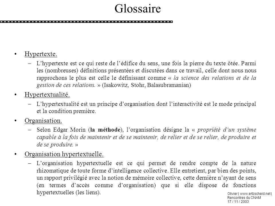 Olivier | www.ertzscheid.net | Rencontres du CNAM 17 / 11 / 2003 Glossaire Hypertexte. –Lhypertexte est ce qui reste de lédifice du sens, une fois la