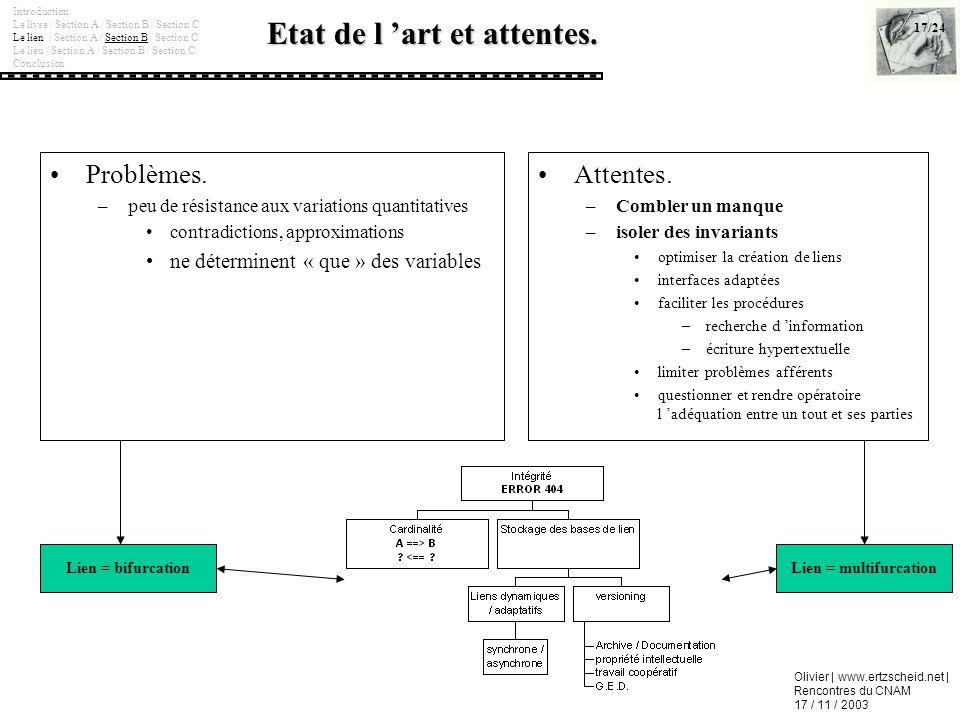 Olivier | www.ertzscheid.net | Rencontres du CNAM 17 / 11 / 2003 Etat de l art et attentes. Problèmes. –peu de résistance aux variations quantitatives