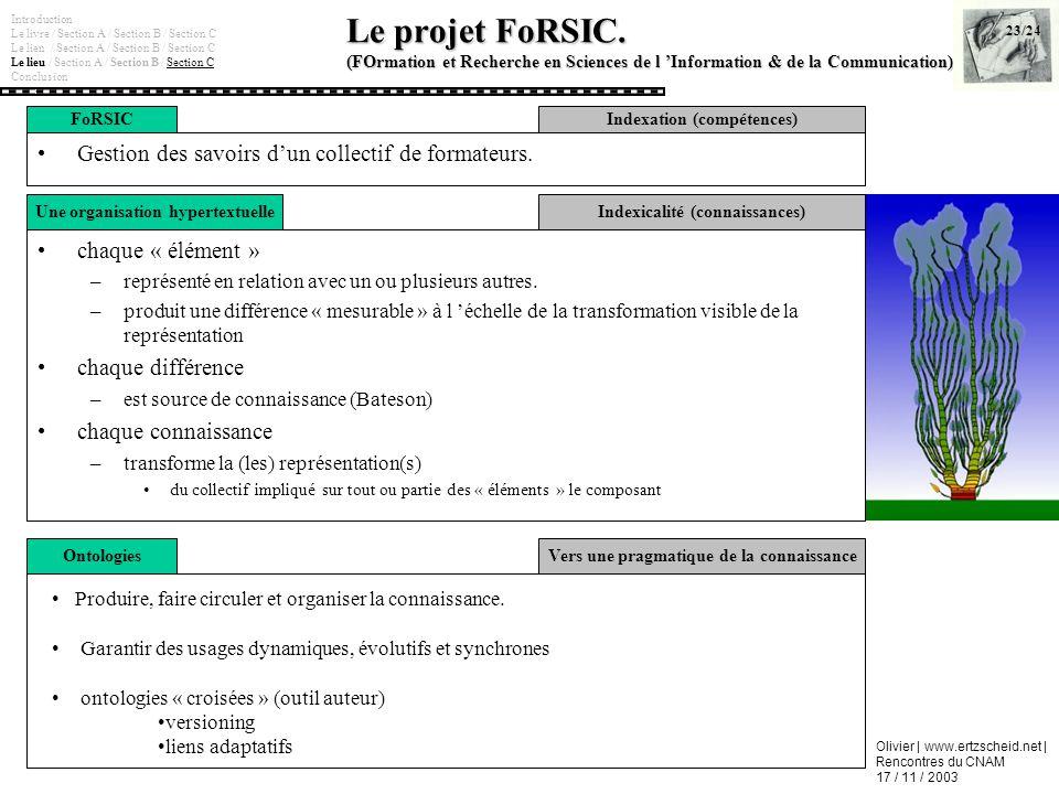 Olivier | www.ertzscheid.net | Rencontres du CNAM 17 / 11 / 2003 Le projet FoRSIC. (FOrmation et Recherche en Sciences de l Information & de la Commun