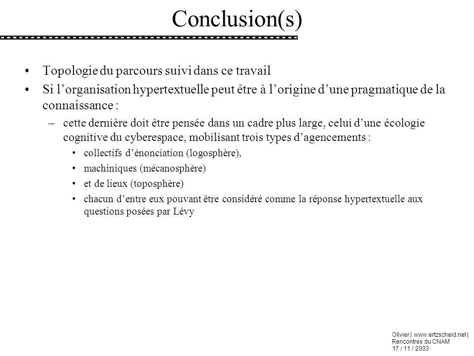 Olivier | www.ertzscheid.net | Rencontres du CNAM 17 / 11 / 2003 Topologie du parcours suivi dans ce travail Si lorganisation hypertextuelle peut être