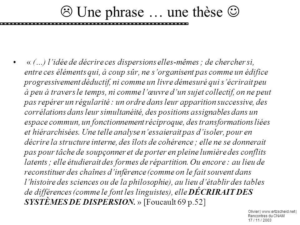 Olivier | www.ertzscheid.net | Rencontres du CNAM 17 / 11 / 2003 « (…) lidée de décrire ces dispersions elles-mêmes ; de chercher si, entre ces élémen
