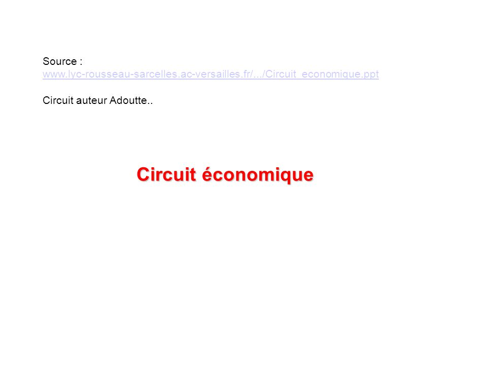 Source : www.lyc-rousseau-sarcelles.ac-versailles.fr/.../Circuit_economique.ppt Circuit auteur Adoutte.. Circuit économique