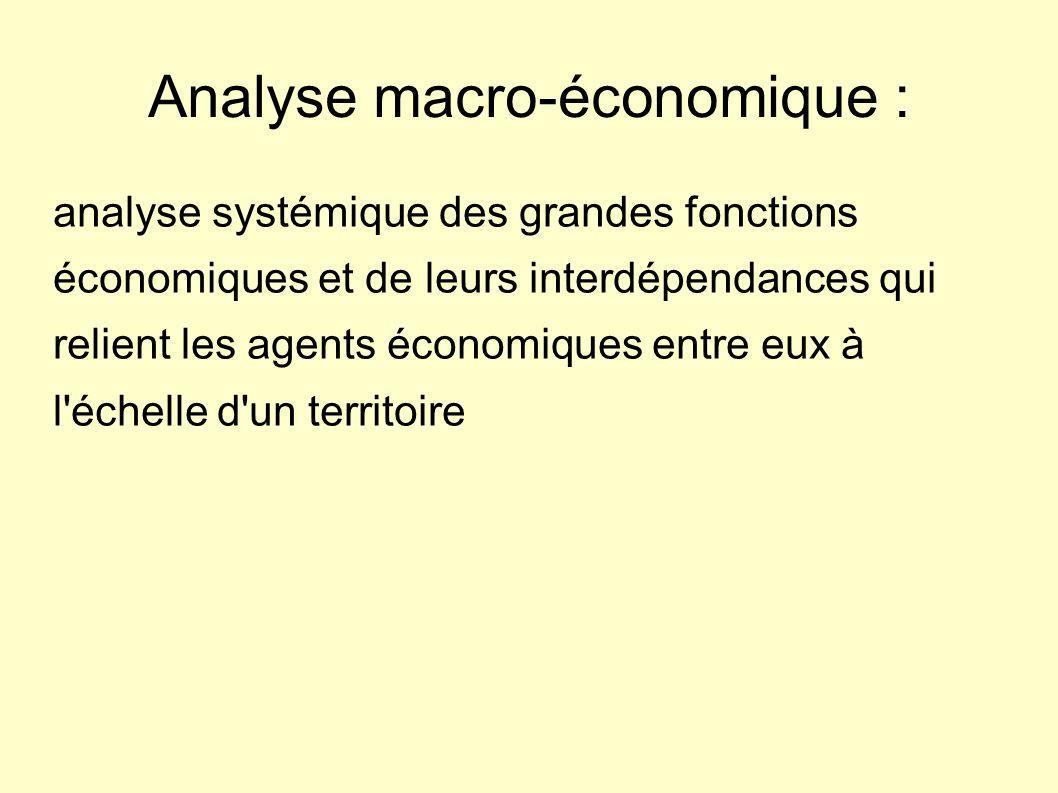 Analyse macro-économique : analyse systémique des grandes fonctions économiques et de leurs interdépendances qui relient les agents économiques entre eux à l échelle d un territoire