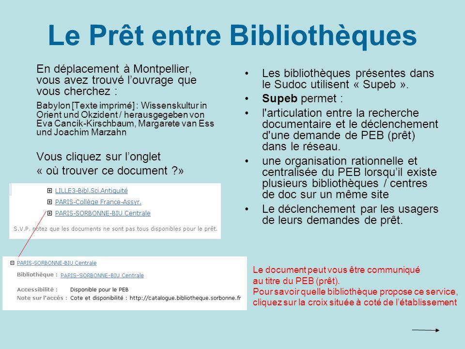 Le Prêt entre Bibliothèques Les bibliothèques présentes dans le Sudoc utilisent « Supeb ».