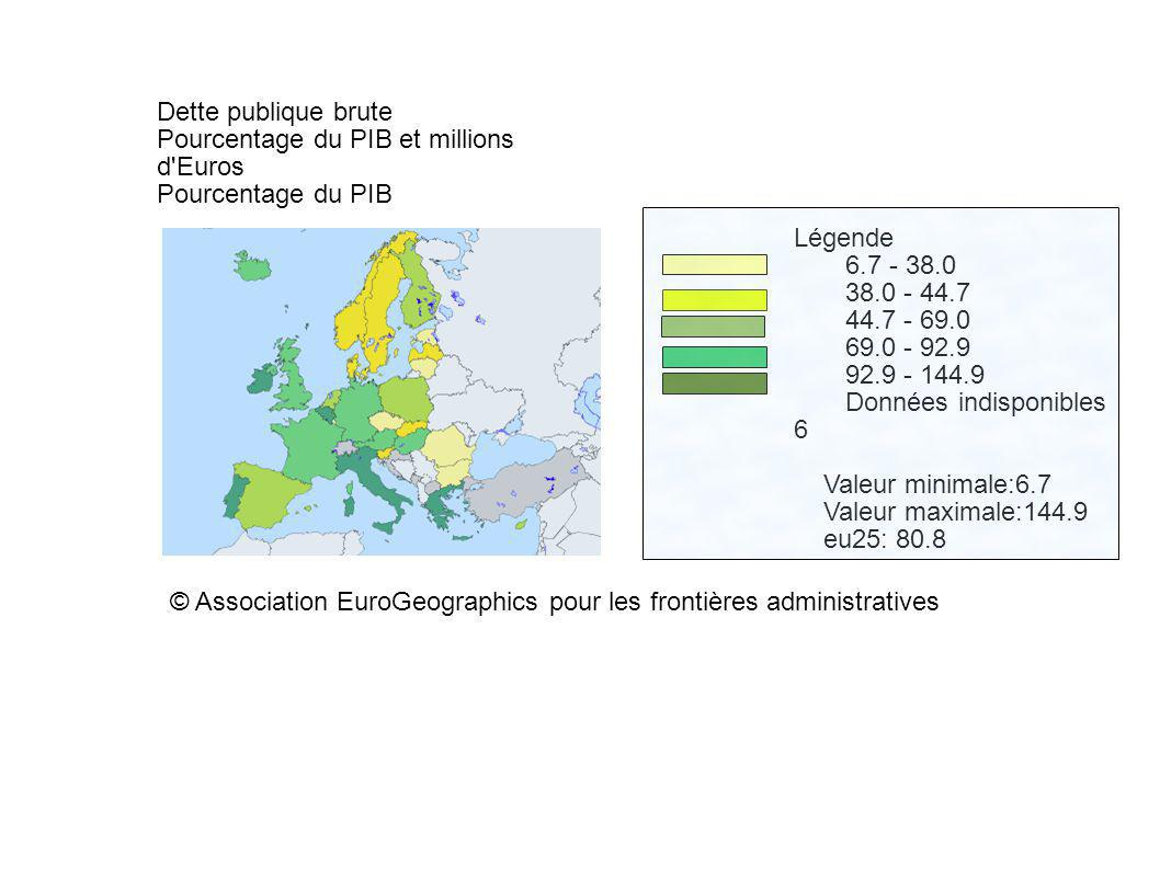 Dette publique brute Pourcentage du PIB et millions d'Euros Pourcentage du PIB Légende 6.7 - 38.0 38.0 - 44.7 44.7 - 69.0 69.0 - 92.9 92.9 - 144.9 Don