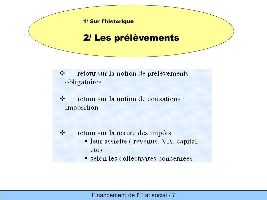 1/ Sur l'historique 2/ Les prélèvements Financement de l'Etat social / 7