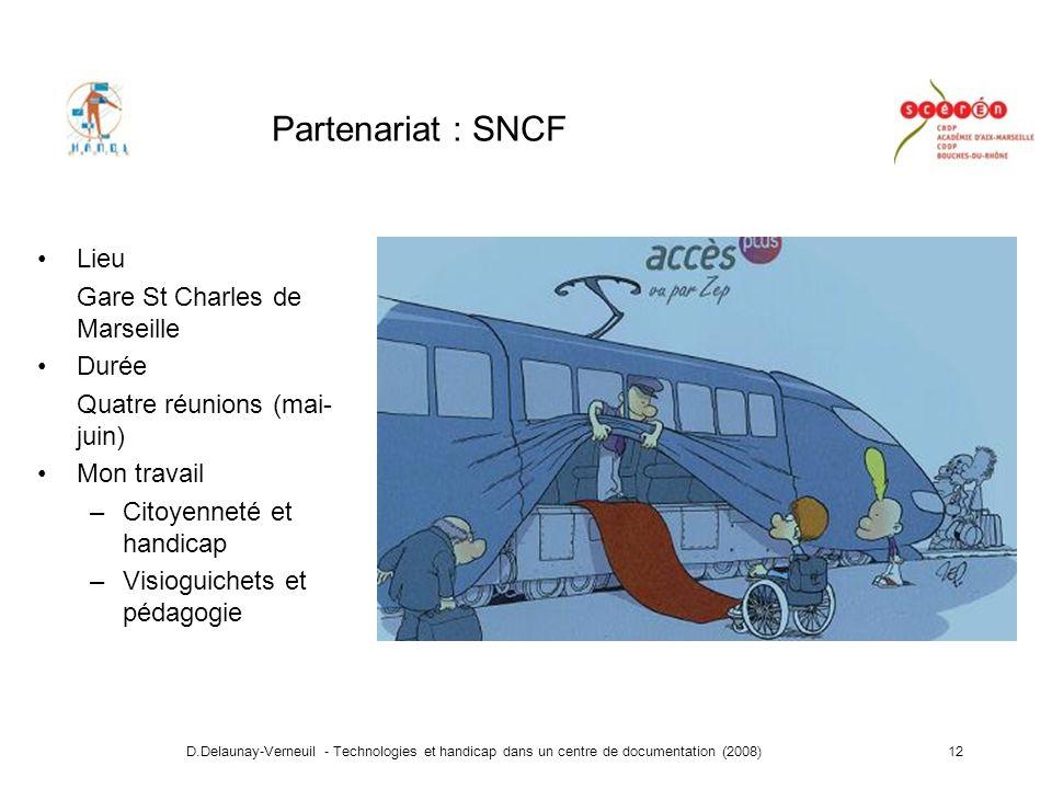 D.Delaunay-Verneuil - Technologies et handicap dans un centre de documentation (2008)12 Partenariat : SNCF Lieu Gare St Charles de Marseille Durée Quatre réunions (mai- juin) Mon travail –Citoyenneté et handicap –Visioguichets et pédagogie