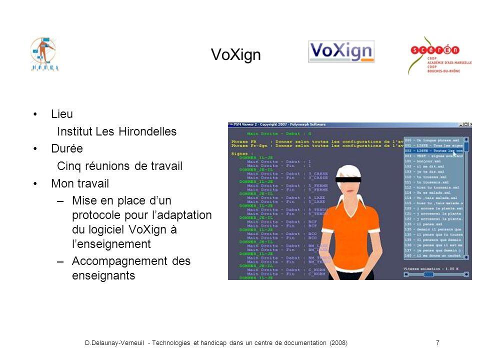 D.Delaunay-Verneuil - Technologies et handicap dans un centre de documentation (2008)8 3 - Accessibilité des projets menés dans le cadre dun Centre de Documentation Pédagogique Accessibilité sur Internet : Courdecol13 Equipement dune salle de cinéma : Rendez vous des quais Partenariat : SNCF