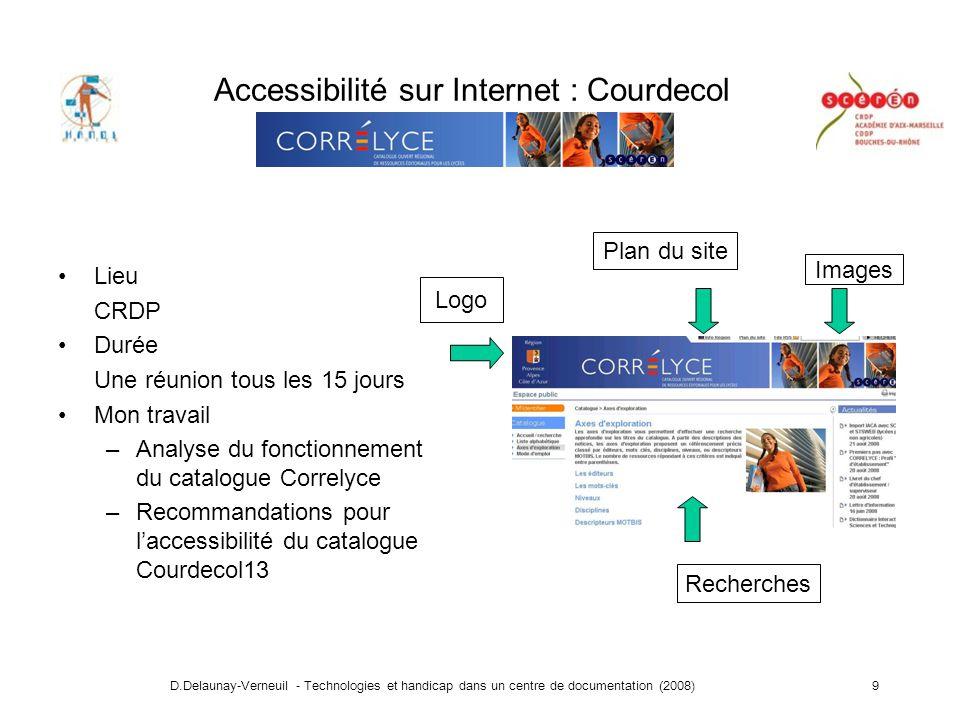 D.Delaunay-Verneuil - Technologies et handicap dans un centre de documentation (2008)20 Merci de votre attention