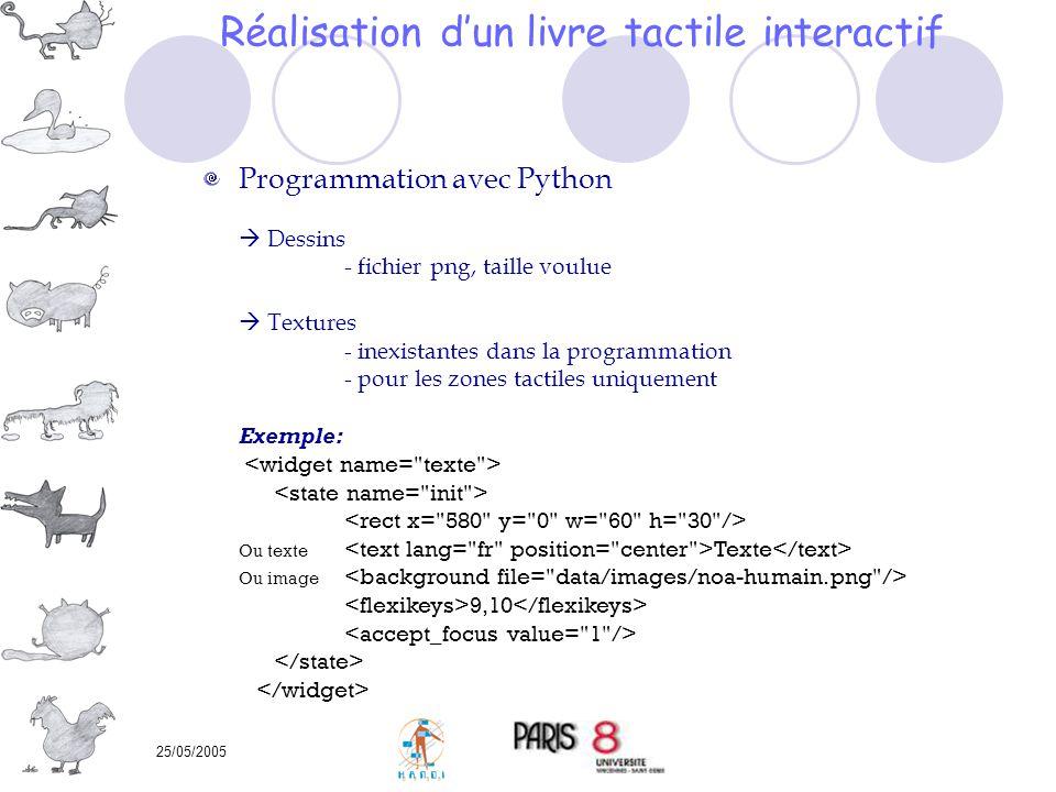 25/05/2005 Programmation avec Python Dessins - fichier png, taille voulue Textures - inexistantes dans la programmation - pour les zones tactiles uniq